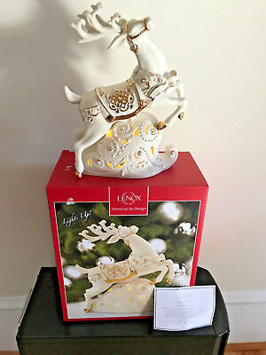 Lenox Reindeer Figurine Lights Up New In Box Limited Edition Number 1777/2000
