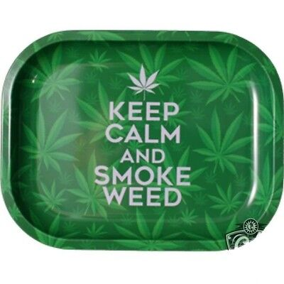 Smoke Arsenal KEEP CALM Cigarette Tobacco Metal Small Rolling Tray 7x5
