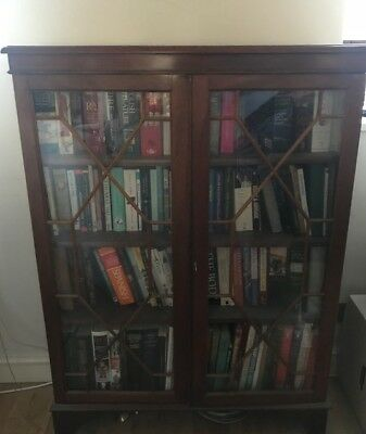 Reproduction mahogany/fruitwood glass fronted bookcase.