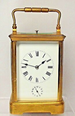 Superb Antique French Striking Repeater Alarm Carriage Clock With Key Works Well