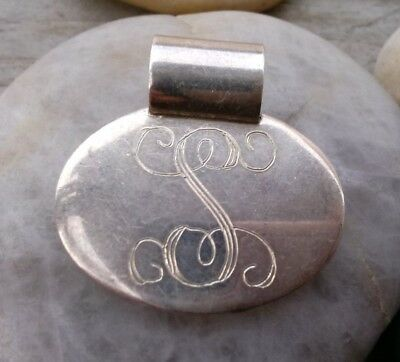 vintage sterling silver Hand write Letter S pendant