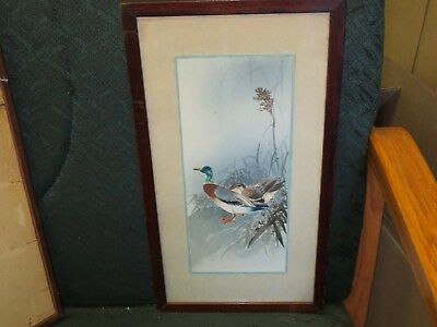 1920's Fabulous Japanese Watercolor Painting Two Ducks Exceptional Quality NR