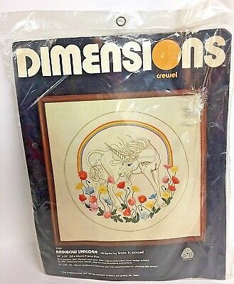 Dimensions Rainbow Unicorn Crewel Embroidery Kit Sealed 1982 - #1234