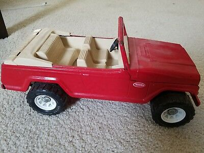 Vintage Tonka Jeep Jeepster Red Car Truck Metal Steel Toy 13 Inches Long