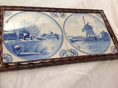 Pair vintage  Dutch Delft Tile scenic landscape framed estate find