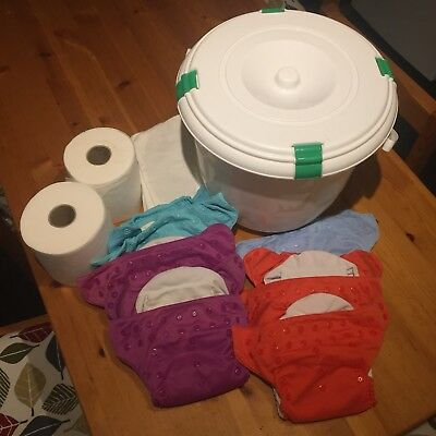 Bumgenius Reusable (6) Nappy Starter Set - Boosters, Liners, Nappy Bucket