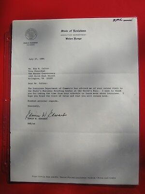 EDWIN W. EDWARDS - TYPED LETTER SIGNED JULY 27, 1984 to Seller