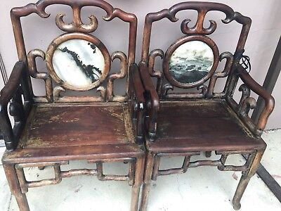 CHINESE CARVED ROSEWOOD ARM CHAIR With Marble