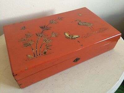 Stunning Antique Chinese Foochow Orange Lacquered Wood Box By Ling Dai Mi & Co