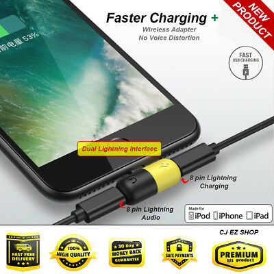 Lightning iPhone X 8 7 Audio Adapter headphone Audio Cable Charger Splitter LOT