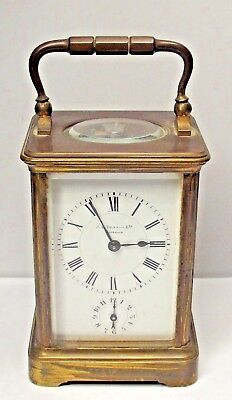 Rare Antique French Brass Corniche Carriage Alarm Clock By J W Benson Works Well