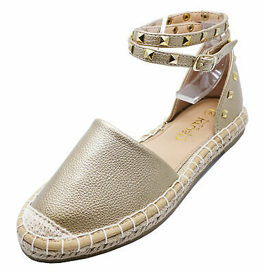 Ladies Gold Flat Strappy Espadrille Comfy Casual Pumps Sandals Shoes Sizes 3-8
