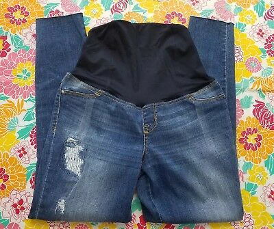 Isabel Maternity Over The Belly Size 4 Raw Hem Distressed Jeggings Jeans