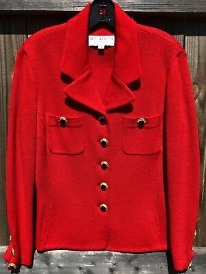 St Johns Collection Marie Gray Red Santana Knit Jacket Size 8
