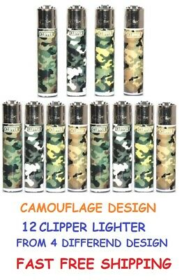 12 Full Size CLIPPER CAMO Refillable Lighters ARMY MILITARY CAMOUFLAGE LIGHTER