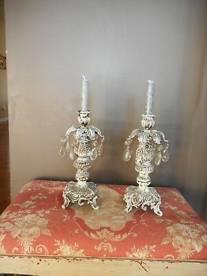 Shabby Chic vintage? antique? candle holders metal French style