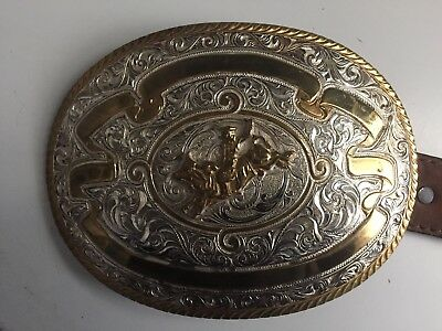 large cowboy belt buckle 6 by 4 1/2 inch