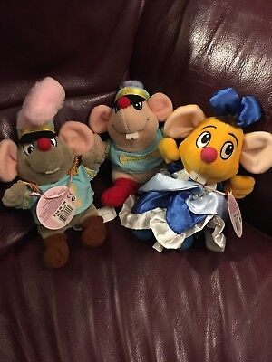 3 X Rare Cinderella Disney Store Soft Toy Plush Mice, Gus, Jaq, 2 With Labels