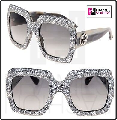 be29174ffc7 GUCCI RHINESTONE 0048 Grey Horn Crystal Oversized Square Sunglasses GG0048S  3861