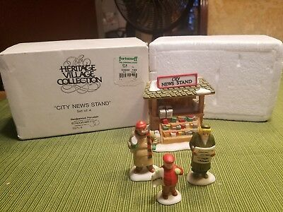 """Dept.56  Heritage  Village Accessory """" City News Stand #59714    Set Of 4"""