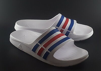 87fd42ff42b9 (12) Adidas Duramo Slides White Blue Red Mens Womens Sports Sandals Slippers