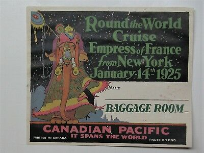 Luggage Label 1925 Canadian Pacific Empress of France Vtg Cruise Ship Souvenir