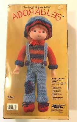"Vintage Adorables Complete 16"" Tall Crochet Doll Kit BOBBY"
