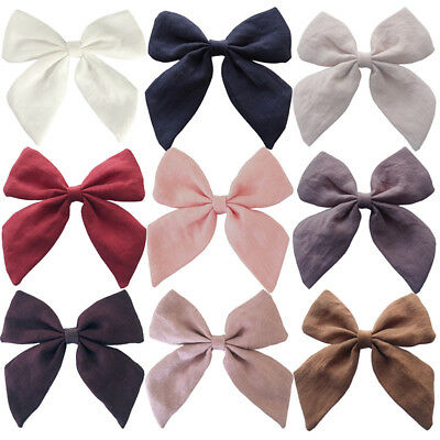 Fashion Chic Flax Cotton Bow-knot Hair Pin Clip Accessories Women Girls Headwear