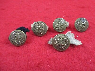 5 Original Indian War Era U.s. Marine Corps Usmc Buttons - Rare