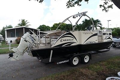 2015 Caravelle Razor 236 FSP E-toon Pontoon Power Catamaran water sports fishing