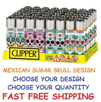 BIG Size CLIPPER Refillable Lighters MULTI COLOR MEXICAN SUGAR SKULLS LIGHTER