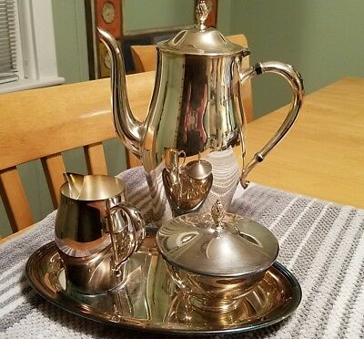william a rogers silver plated tea service teapot, sugar, creamer, tray ONEIDA