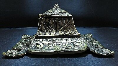 Art Nouveau Style Brass Inkwell ~ signed CBF ~ Made in England