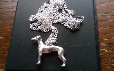 vintage sterling silver Whippet dog charm necklace for child adult .21 ounce