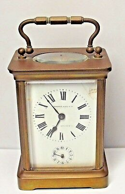 A Antique French Brass  Carriage Alarm Clock Camerer Cuss Works Well