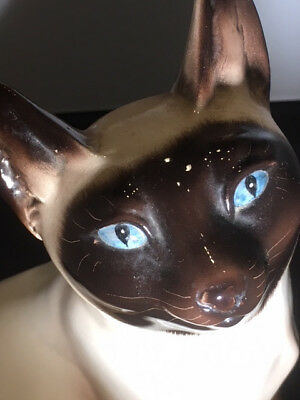 """Antique 10"""" Siamese Cat Figurine, Sitting, Signed, Numbered, Ronzan, Italy"""