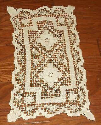"Vintage rectangle doily doilies lot of 2 off white 14"" x 8"""
