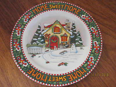 2000 Mary Engelbreit Home Sweet Home Christmas Round Chop Plate Platter 10.75""