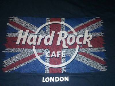 HARD ROCK CAFE LONDON UK UNION JACK FLAG NAVY BLUE T-SHIRT NEW NWT MENS M MEDIUM