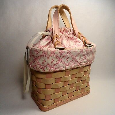 Longaberger American Cancer Society PINK BASKET PURSE TOTE with Liner Perfect
