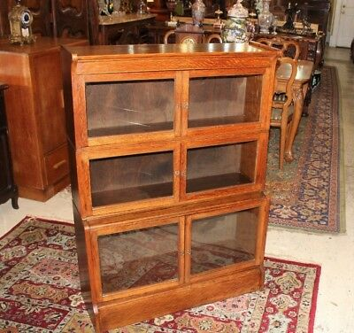 English Antique Oak Art & Craft Mission Style Stacking Lawyer Bookcase