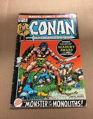 CONAN THE BARBARIAN #21 1972 VG+ Bronze Age Marvel Comics Barry Smith art!