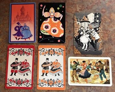 Lot of 6 Vintage Playing Cards ~ European People ~ Music/Dance ~ 2 Extra Jokers