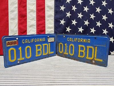 Vintage Set California License Plate Tag Blue Yellow Pair Sign Car 1970's 1980's
