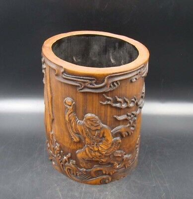 Collectible Handmade Carving Bamboo Brush Pot Statue Dragon & people