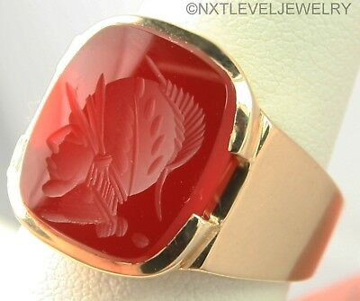Vintage 1940's Hand Carved Carnelian Intaglio 10k Solid Gold Men's Wax Seal Ring