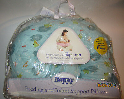 Boppy Pillow + Cover Slipcover Miracle Middle Infant Feeding Support Teal Green