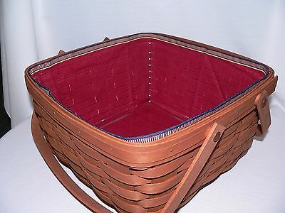 LONGABERGER CAKE or SMALL PICNIC BASKET LINER ONLY in PAPRIKA - NEW