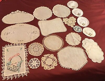 22 ANTIQUE LACE DOILIES Dresser Scarf Wedding Tatting Coaster Doll Embroidered
