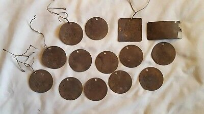 14 Old Vintage Authentic Brass Milk Cow Tag Numbers ? Bovine Country Dairy Farm